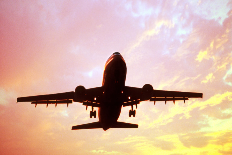 Passenger jet ascending